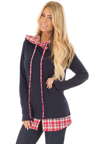 Navy Long Sleeve Hoodie with Plaid Hemline and Drawstrings front close up