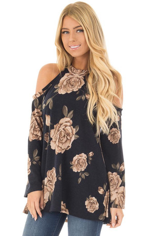 Navy Floral Print Cold Shoulder Top front close up