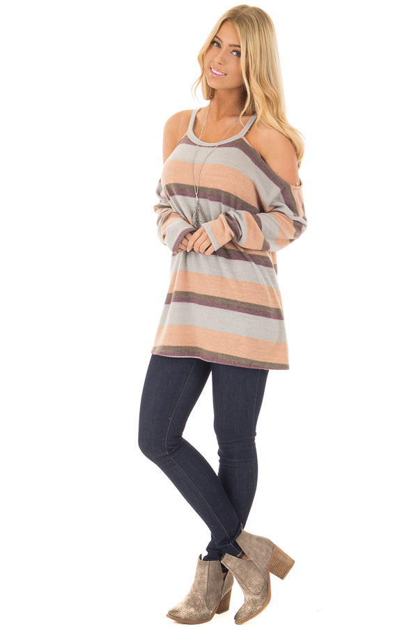 Multi Colored Striped Cold Shoulder Top front full body