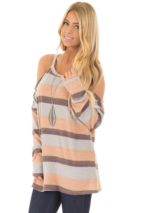 Multi Colored Striped Cold Shoulder Top front close up