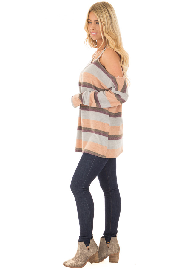 Multi Colored Striped Cold Shoulder Top side full body
