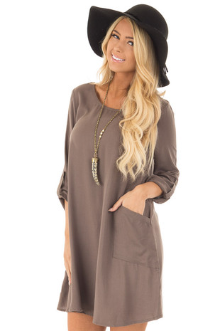 Olive Shift Dress with Cuffed Sleeves and Pockets front close up