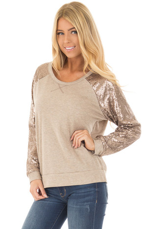 Taupe Raglan Sleeve Sweater with Gold Sequin Detail front close up