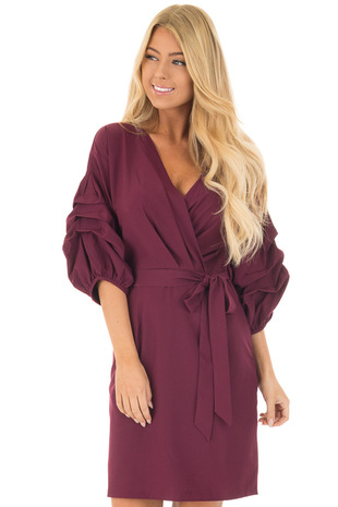 Wine 3/4 Bubble Sleeve Wrap Dress with Waist Tie front close up