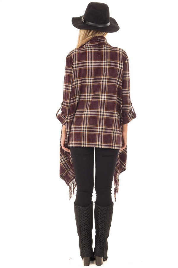 Burgundy Plaid Open Cardigan with Fringe Hemline back full body