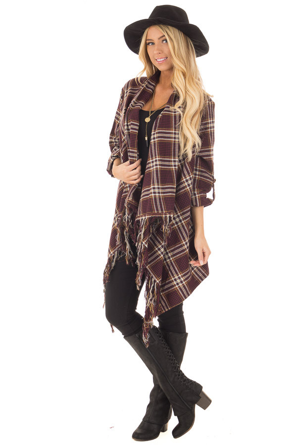 Burgundy Plaid Open Cardigan with Fringe Hemline front full body