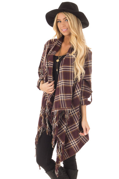 Burgundy Plaid Open Cardigan with Fringe Hemline front close up