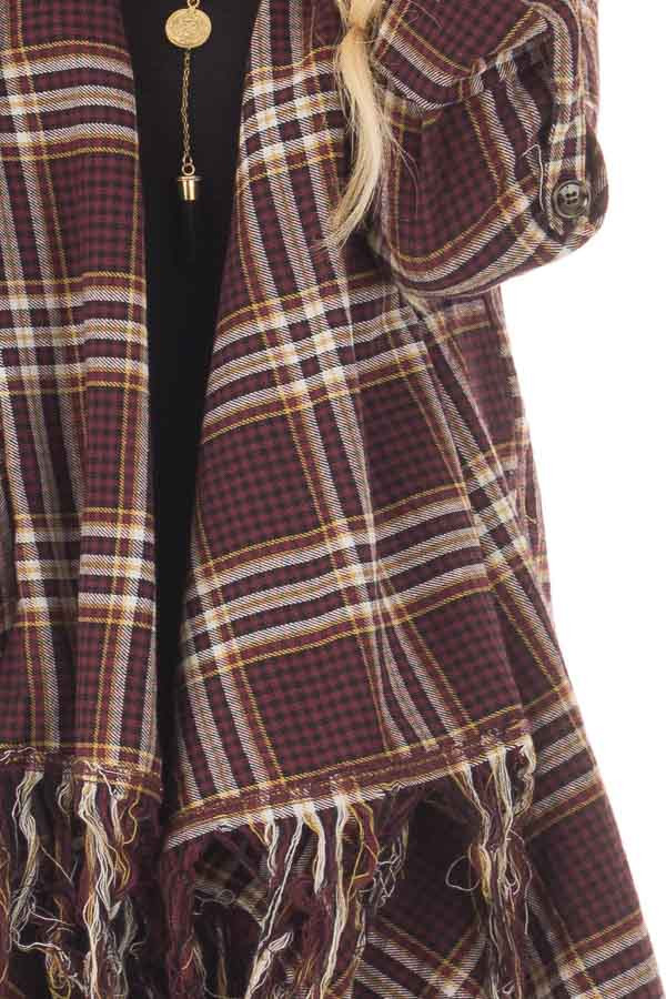 Burgundy Plaid Open Cardigan with Fringe Hemline detail