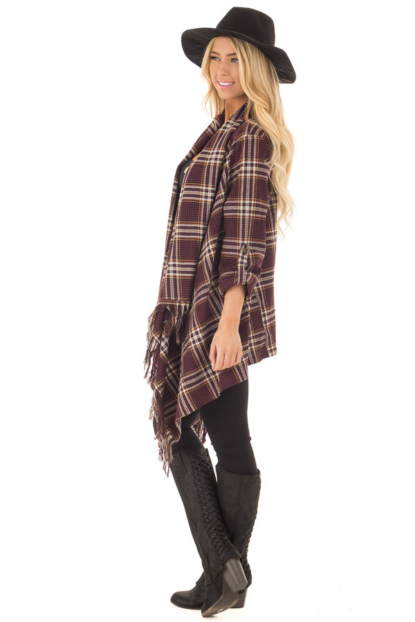 Burgundy Plaid Open Cardigan with Fringe Hemline side full body