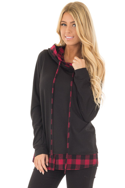 Black Long Sleeve Hoodie with Plaid Hemline and Drawstrings front close up