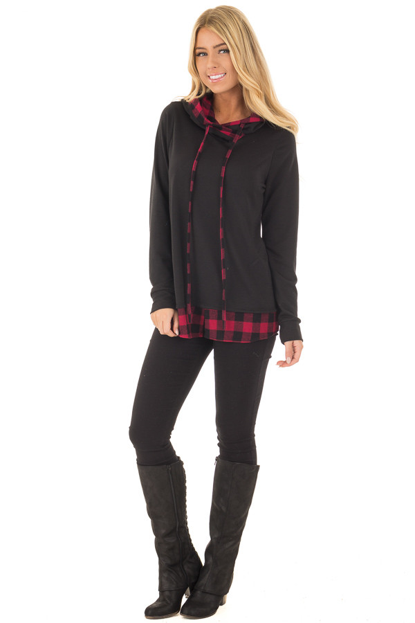 Black Long Sleeve Hoodie with Plaid Hemline and Drawstrings front full body
