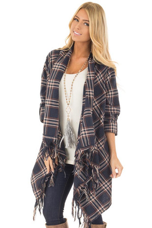 Navy Plaid Open Cardigan with Fringe Hemline front close up