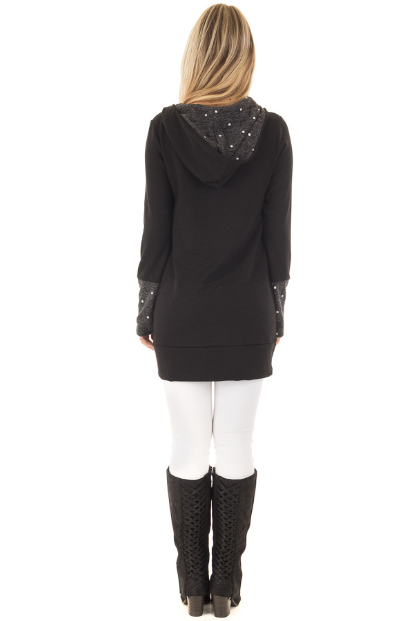 Black Long Sleeve Hooded Sweater with Polka Dot Contrast back full body