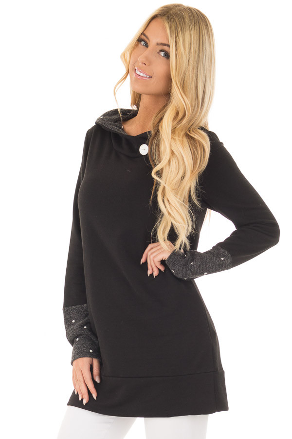 Black Long Sleeve Hooded Sweater with Polka Dot Contrast front close up