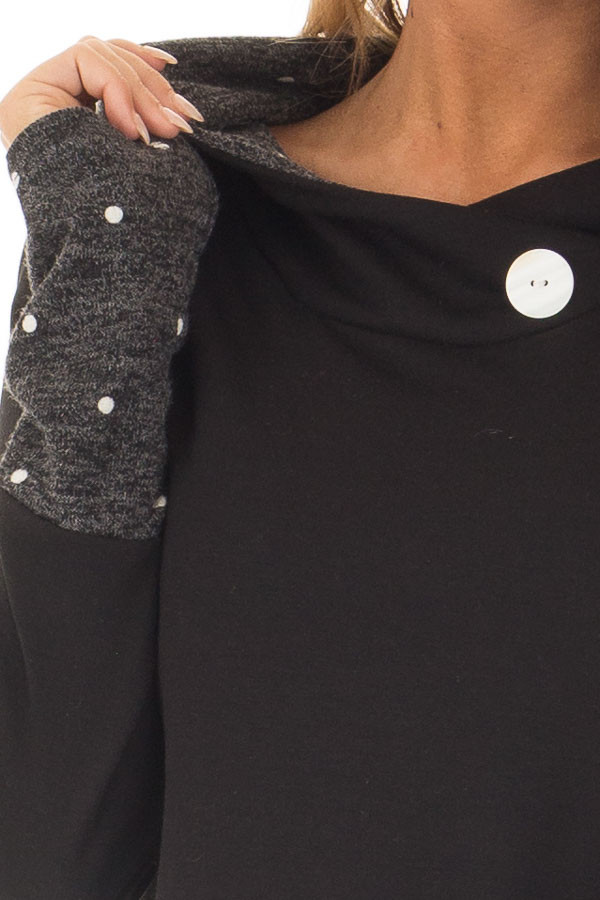 Black Long Sleeve Hooded Sweater with Polka Dot Contrast detail