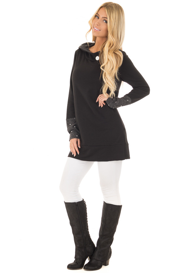 Black Long Sleeve Hooded Sweater with Polka Dot Contrast front full body