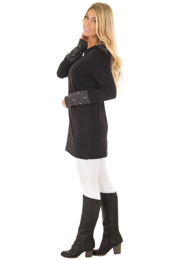 Black Long Sleeve Hooded Sweater with Polka Dot Contrast side full body