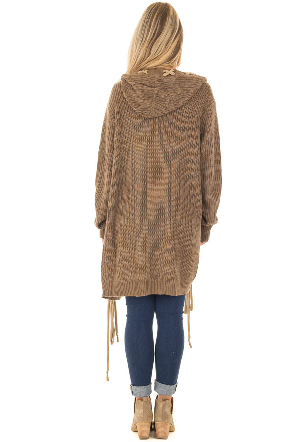Cocoa Hoodie Cardigan with Faux Suede Drawstring Detail back full body