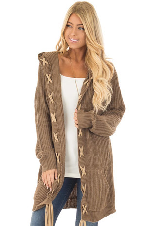 Cocoa Hoodie Cardigan with Faux Suede Drawstring Detail front close up
