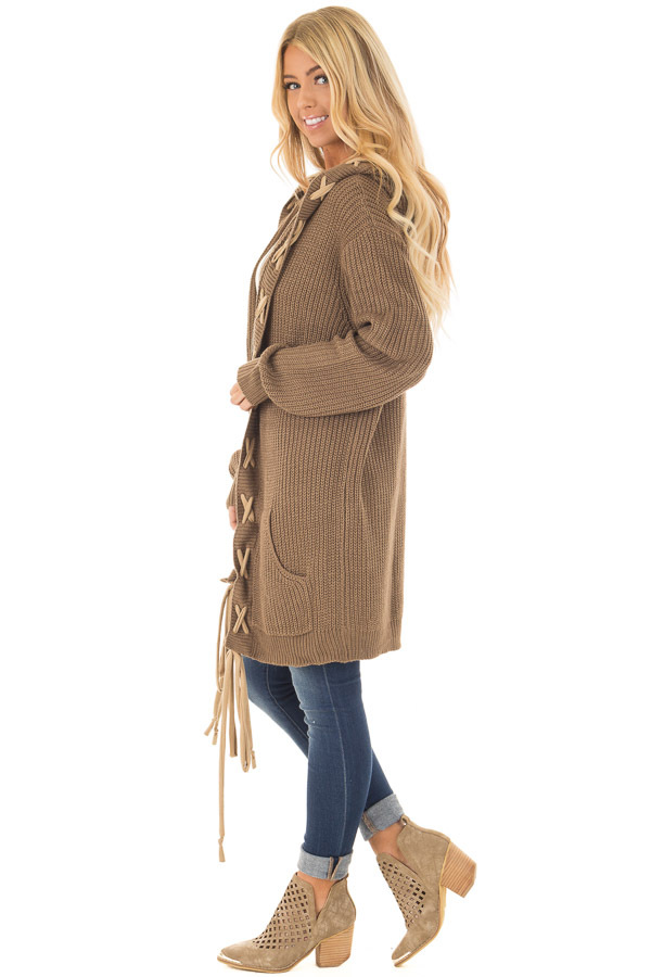 Cocoa Hoodie Cardigan with Faux Suede Drawstring Detail side full body
