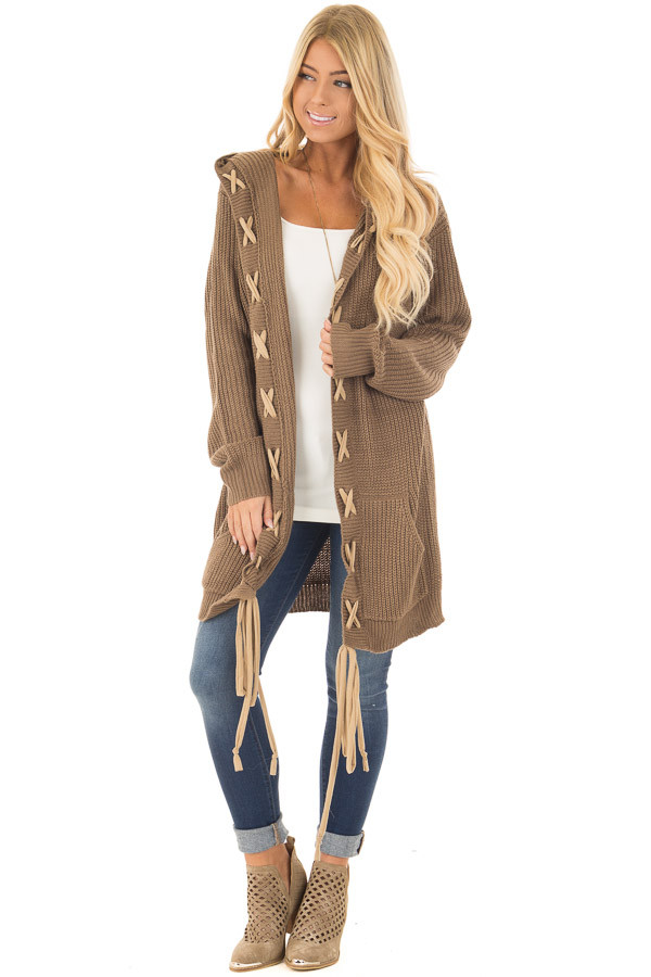 Cocoa Hoodie Cardigan with Faux Suede Drawstring Detail front full body