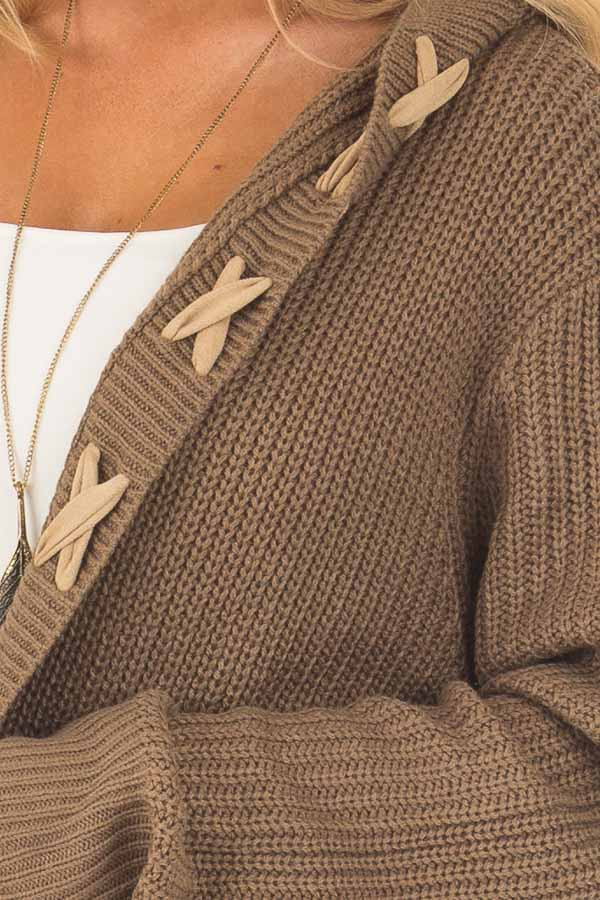 Cocoa Hoodie Cardigan with Faux Suede Drawstring Detail detail