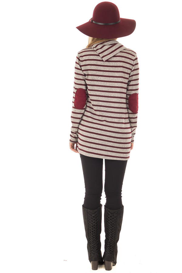 Burgundy Striped Long Sleeve Sweater with Elbow Patches back full body
