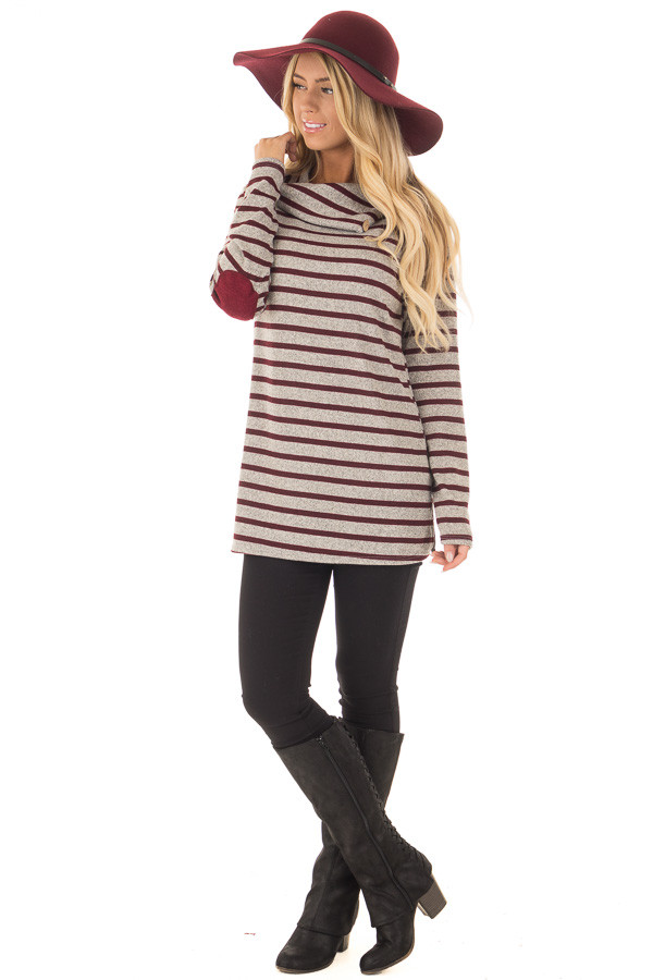 Burgundy Striped Long Sleeve Sweater with Elbow Patches front full body