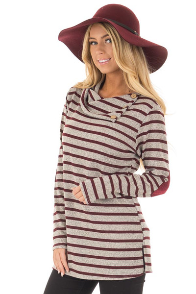Burgundy Striped Long Sleeve Sweater with Elbow Patches front close up