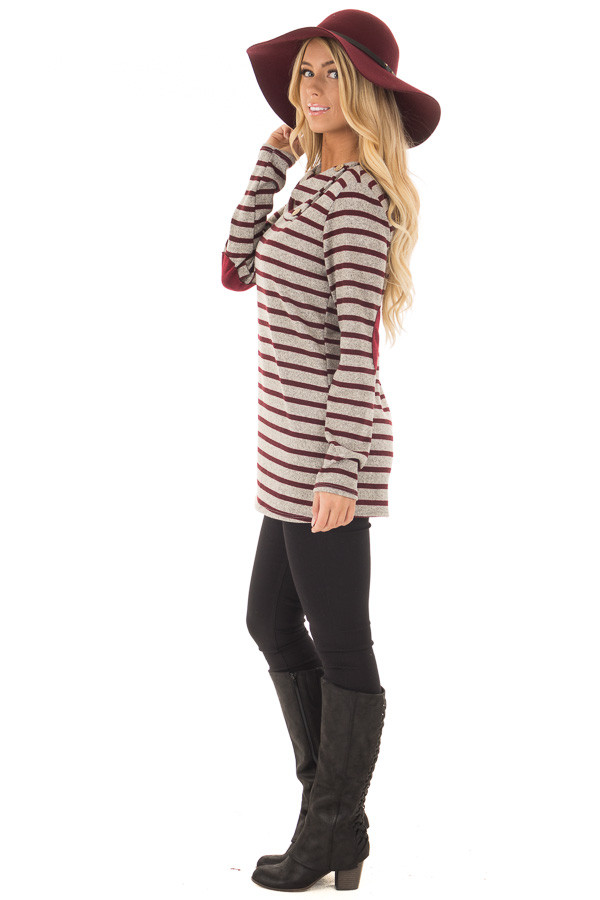 Burgundy Striped Long Sleeve Sweater with Elbow Patches side full body