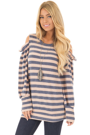 Denim and Blush Soft Striped Cold Shoulder Top front close up