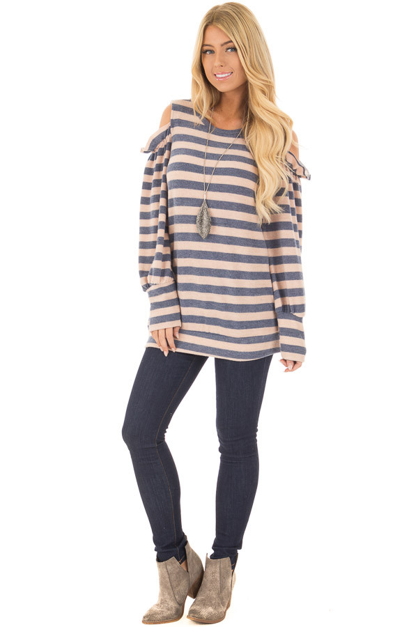 Denim and Blush Soft Striped Cold Shoulder Top front full body