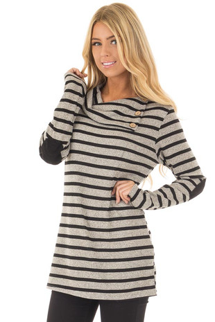 Black Striped Long Sleeve Sweater with Elbow Patches front close up