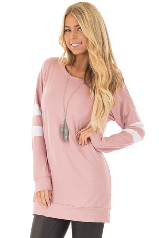 Mauve Tunic Top with White Striped Sleeve Detail front closeup