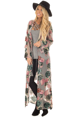 Grey Long Cardigan with Velvet Floral Details front full body