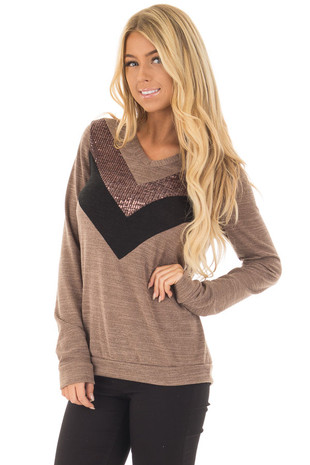 Mocha Long Sleeve Top with Black and Mocha Sequin Chevron front closeup