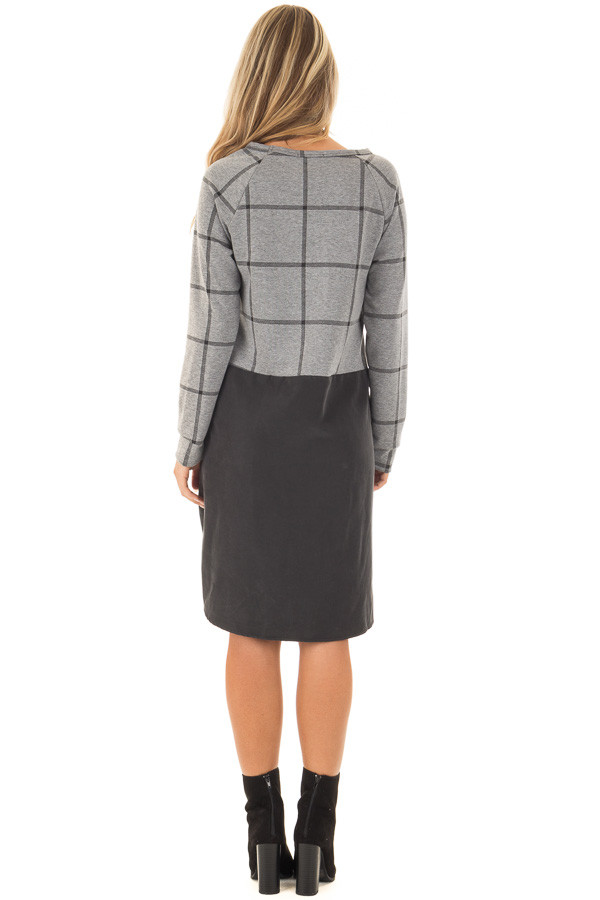 Charcoal Plaid Long Sleeve Short Dress with Front Pockets back full body