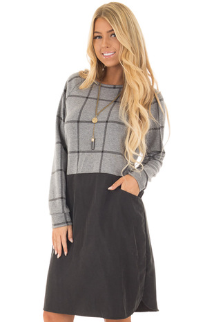 Charcoal Plaid Long Sleeve Short Dress with Front Pockets front closeup