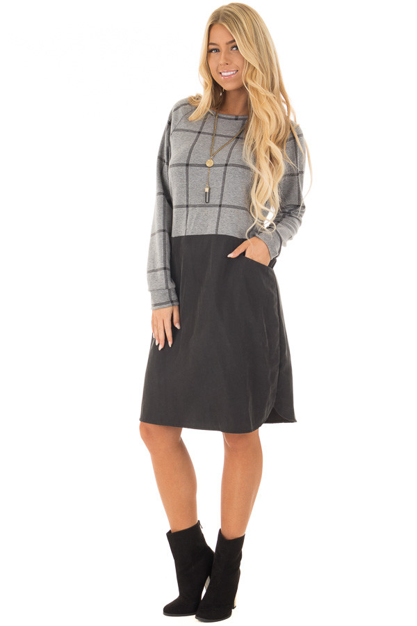 Charcoal Plaid Long Sleeve Short Dress with Front Pockets front full body