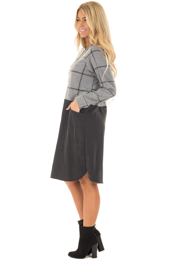 Charcoal Plaid Long Sleeve Short Dress with Front Pockets side full body