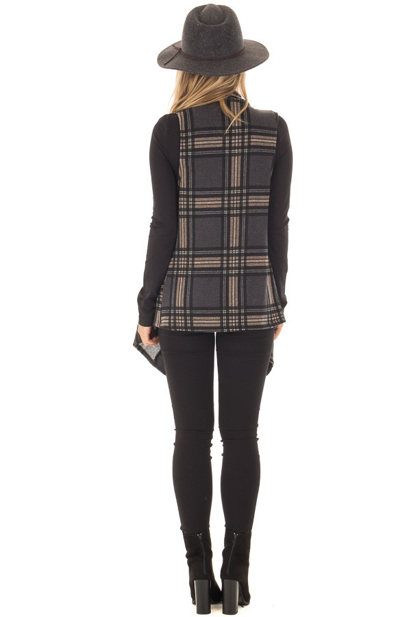 Charcoal and Taupe Plaid Open Drape Vest back full body