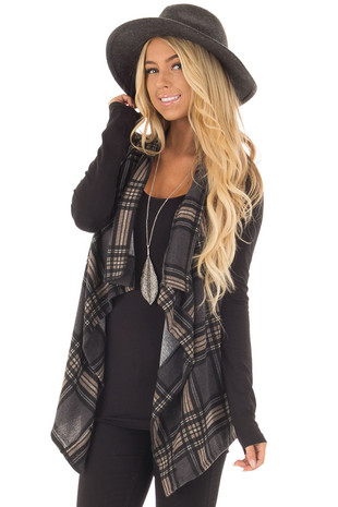 Charcoal and Taupe Plaid Open Drape Vest front closeup