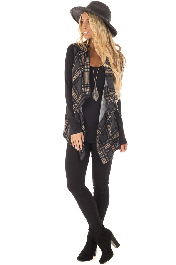 Charcoal and Taupe Plaid Open Drape Vest front full body