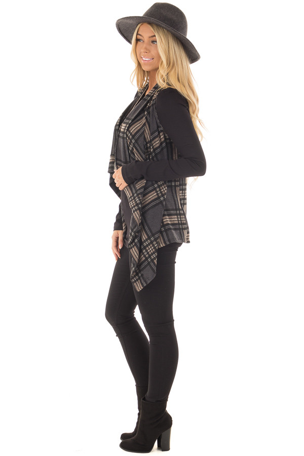 Charcoal and Taupe Plaid Open Drape Vest side full body