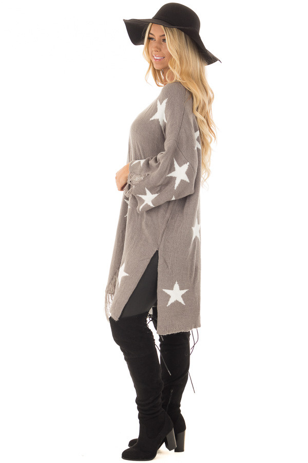 Grey Sweater Tunic with White Stars and Distressed Details side full body