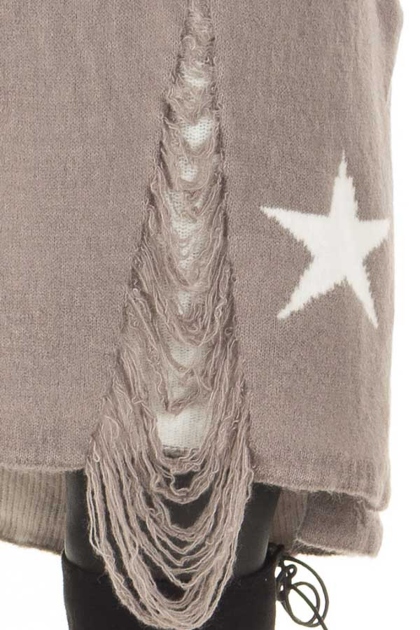 Grey Sweater Tunic with White Stars and Distressed Details front detail