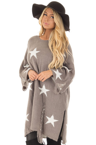 Grey Sweater Tunic with White Stars and Distressed Details front closeup