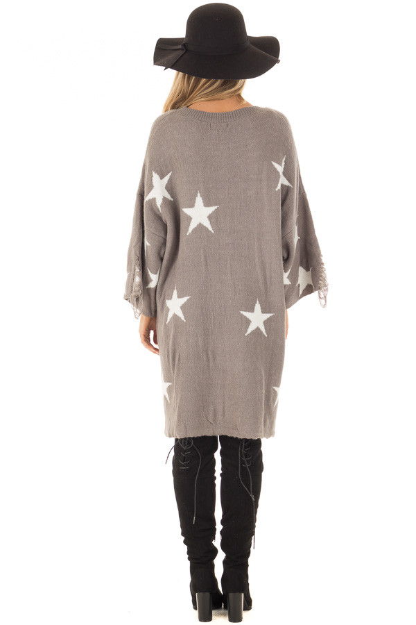 Grey Sweater Tunic with White Stars and Distressed Details back full body