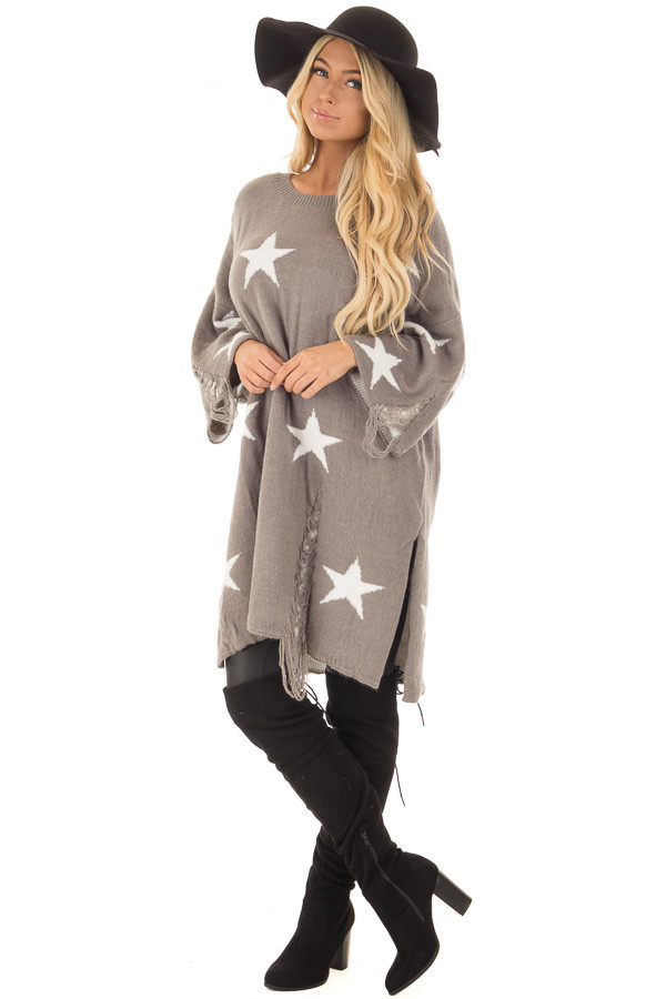 Grey Sweater Tunic with White Stars and Distressed Details front full body