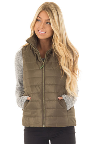 Olive Zip Up Puffer Vest with Hidden Pockets front closeup
